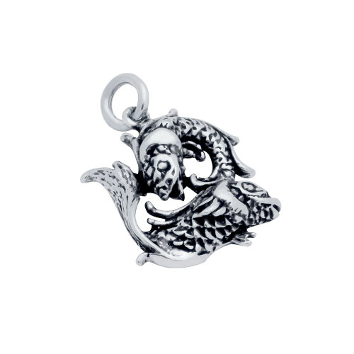 """STERLING SILVER """"PISCES"""" DOUBLE FISH CHARM"""