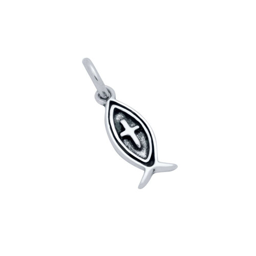 STERLING SILVER 16MM ICHTHYS FISH AND CROSS CHARM
