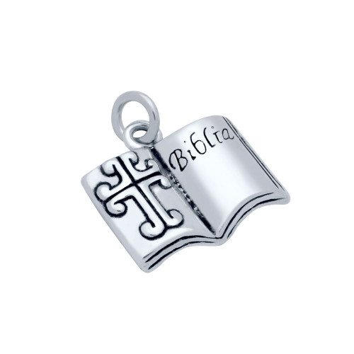 """STERLING SILVER LARGE HOLY BIBLE """"BIBLIA"""" CHARM"""