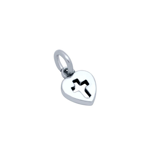 STERLING SILVER SMALL CROSS ON HEART CHARM