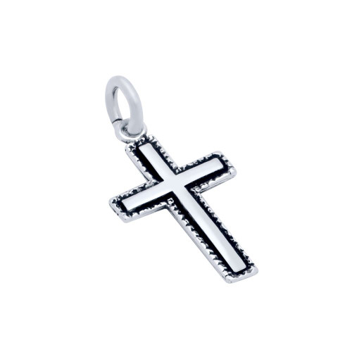 STERLING SILVER 13MM DOUBLE-SIDED CROSS