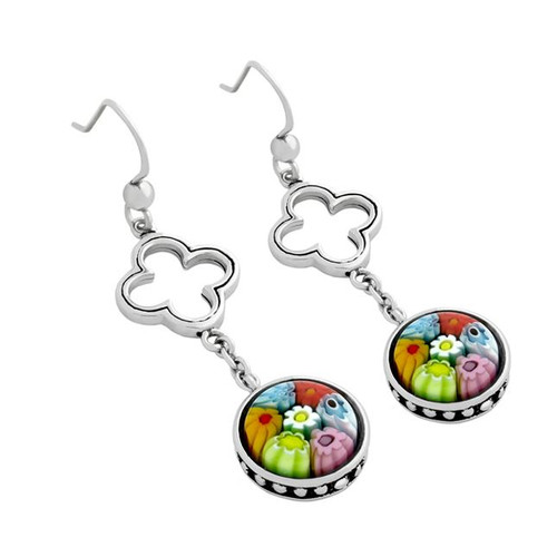 MULTICOLOR MURANO MILLEFIORI ROUND FISHHOOK EARRINGS WITH CUTOUT CLOVER DESIGN