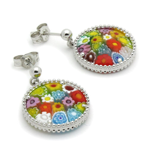 MULTICOLOR MURANO MILLEFIORI DOUBLE-SIDED 16MM ROUND EARRINGS