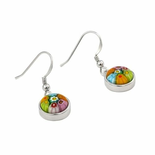 MURANO MILLEFIORI MULTICOLOR 10MM ROUND EARRINGS