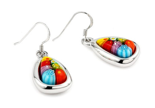 MURANO MILLEFIORI MULTICOLOR 15MM DROP SHAPED FISHHOOK EARRINGS