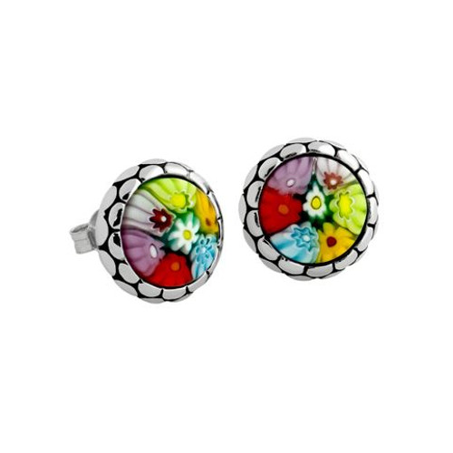 MULTICOLOR MURANO MILLEFIORI ROUND CABOCHON STUD EARRINGS