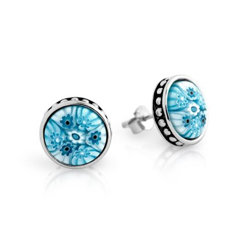 LIGHT BLUE MURANO MILLEFIORI 10MM ROUND STUD EARRINGS WITH BEADED DESIGN