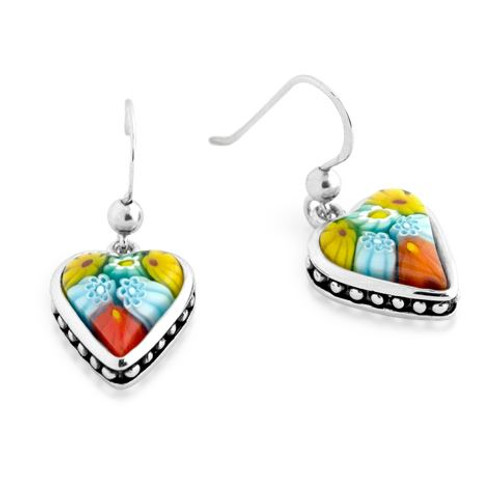 MULTICOLOR MURANO MILLEFIORI HEART SHAPE DANGLING EARRINGS WITH BEADED DESIGN