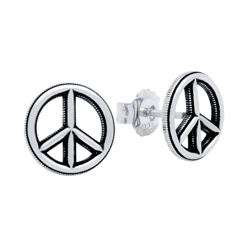 silver sterling peace earrings sign stud il tiny jewelry listing