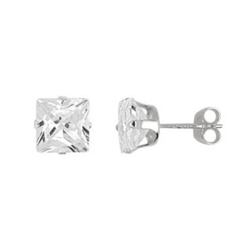6X6MM SQUARE CZ STUD EARRINGS
