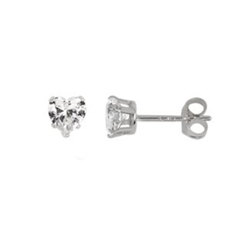 4MM HEART CZ STUD EARRINGS
