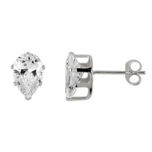 8X5MM PEAR CZ STUD EARRINGS