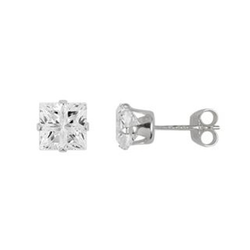 5X5MM SQUARE INVISIBLE CZ STUD EARRINGS