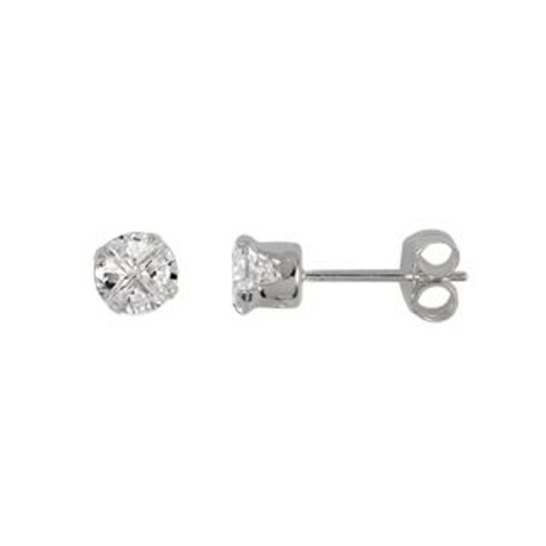 4MM ROUND INVISIBLE CZ STUD EARRINGS