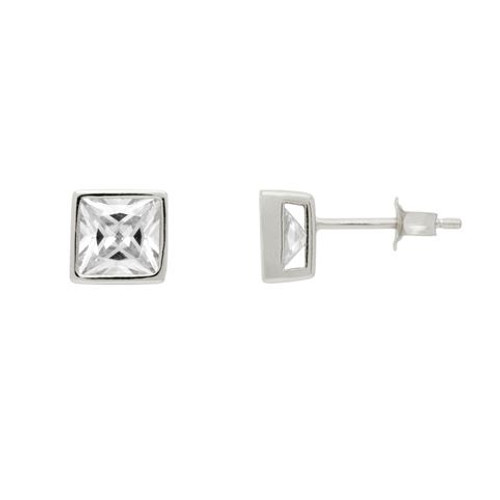 RHODIUM PLATED 7MM SQUARE BEZEL SET CZ STUD EARRINGS