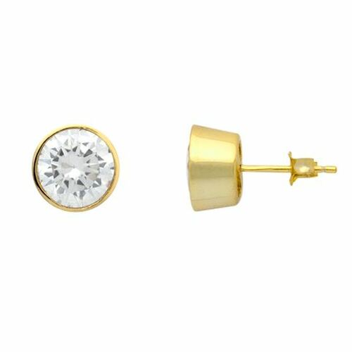 GOLD PLATED 8MM ROUND BEZEL SET CZ STUD EARRINGS