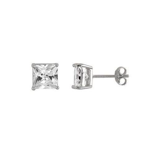 6MM RHODIUM PLATED SQUARE BASKET CZ STUD EARRINGS