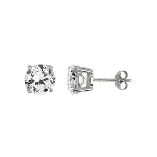 8MM RHODIUM PLATED ROUND BASKET CZ STUD EARRINGS