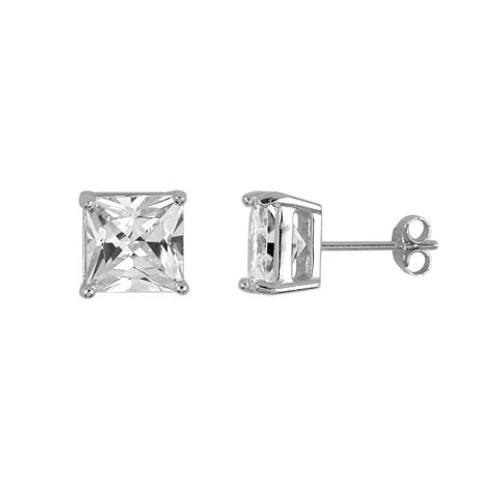8MM RHODIUM PLATED SQUARE BASKET CZ STUD EARRINGS