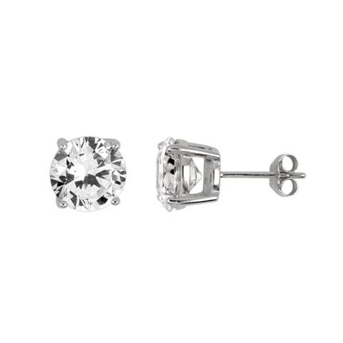 9MM RHODIUM PLATED ROUND BASKET CZ STUD EARRINGS
