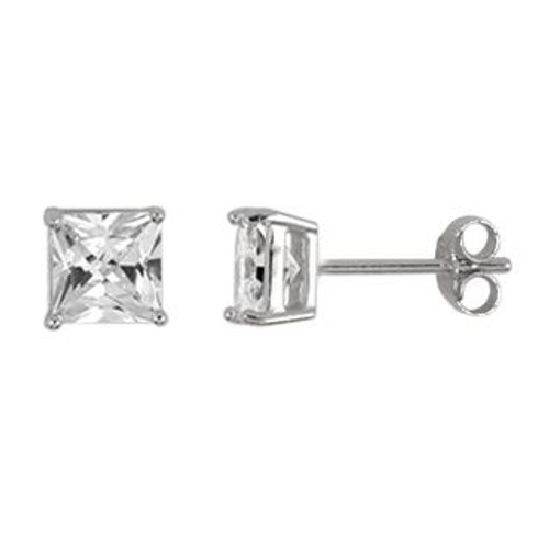 5MM RHODIUM PLATED SQUARE BASKET CZ STUD EARRINGS