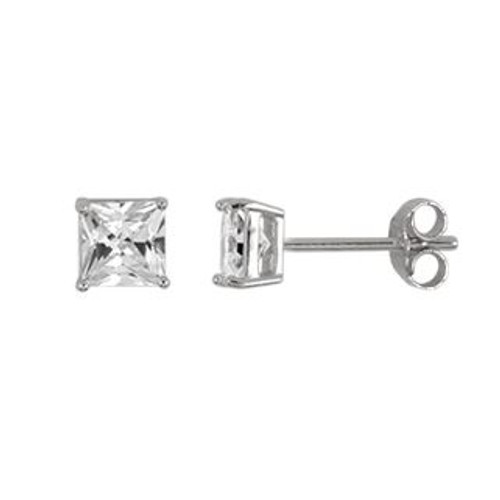 4MM RHODIUM PLATED SQUARE BASKET CZ STUD EARRINGS