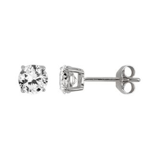 5MM RHODIUM PLATED ROUND BASKET CZ STUD EARRINGS