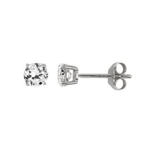 4MM RHODIUM PLATED ROUND BASKET CZ STUD EARRINGS