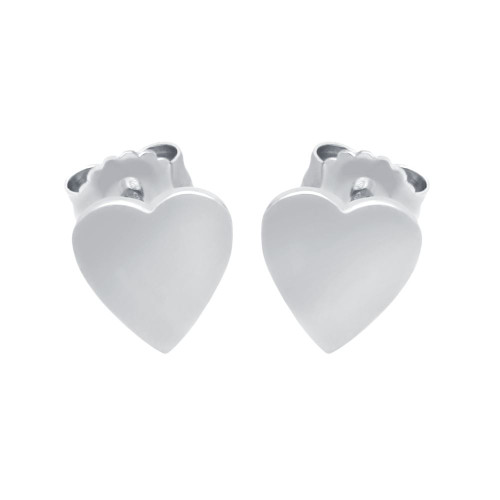 RHODIUM PLATED STERLING SILVER HEART EARRINGS