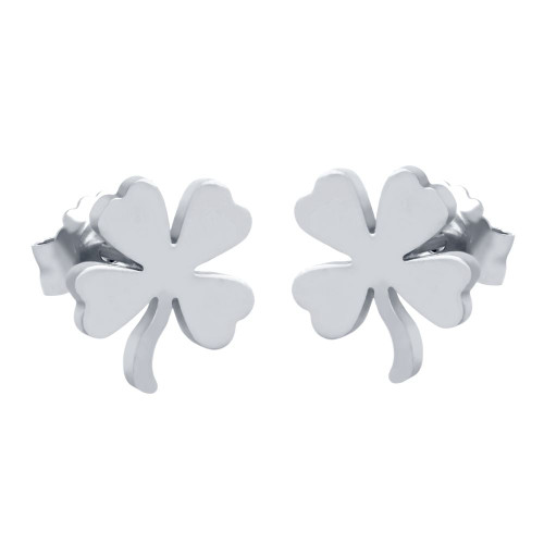RHODIUM PLATED STERLING SILVER CLOVER EARRINGS