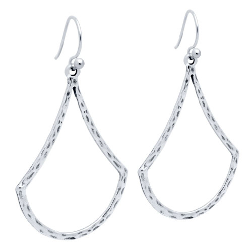 STERLING SILVER HAMMERED FINISH BELL-SHAPED OUTLINE EARRINGS