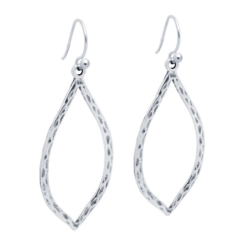 STERLING SILVER HAMMERED FINISH LEAF-SHAPED OUTLINE EARRINGS