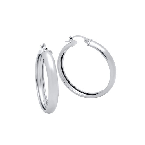 RHODIUM PLATED 36MM LIGHTWEIGHT HOOP EARRINGS