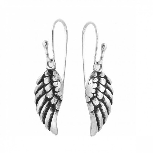 STERLING SILVER 16MM SMALL WING FISHHOOK EARRINGS