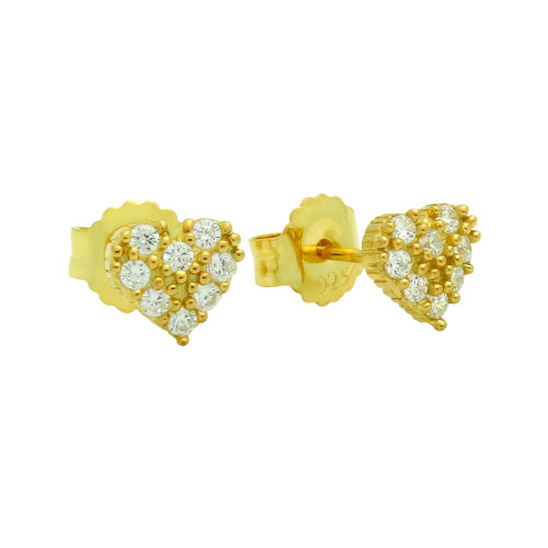 GOLD PLATED PAVE CZ HEART POST EARRINGS