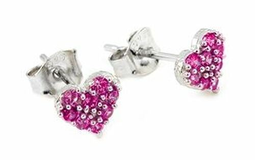 PAVE CZ PINK HEART POST EARRINGS