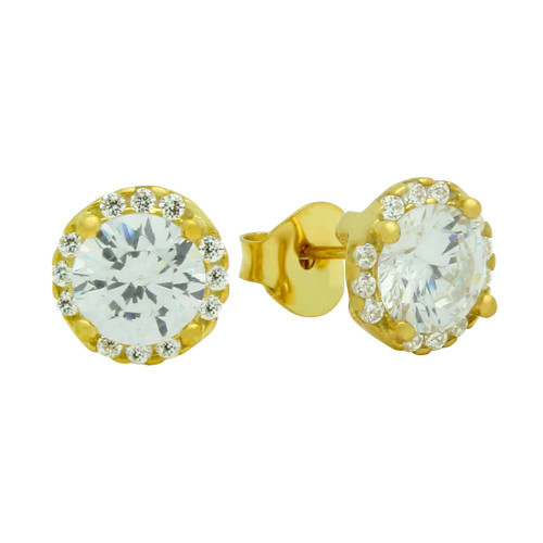 GOLD PLATED ROUND CZ EARRINGS WITH ALL AROUND SMALL CZ STONES