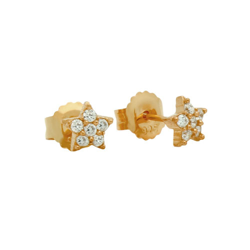 ROSE GOLD PLATED PAVE CZ STAR POST EARRINGS