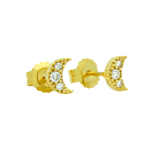 GOLD PLATED PAVE CZ MOON POST EARRINGS