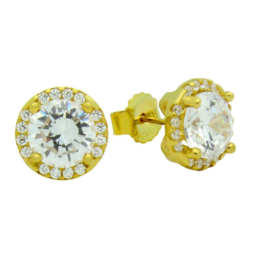 GOLD PLATED 7.5MM ROUND CZ EARRINGS WITH ALL AROUND CZ STONES