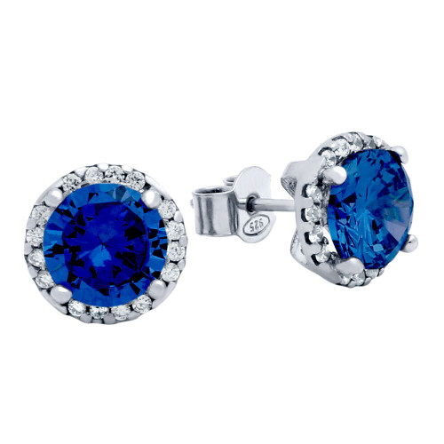RHODIUM PLATED 7.5MM BLUE ROUND CZ STUD EARRINGS WITH ALL AROUND CLEAR CZ STONES