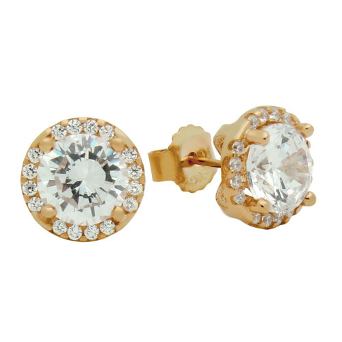 ROSE GOLD PLATED 7.5MM ROUND CZ EARRINGS WITH ALL AROUND CZ STONES