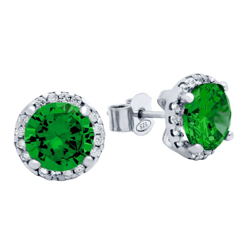 RHODIUM PLATED 7.5MM GREEN ROUND CZ STUD EARRINGS WITH ALL AROUND CLEAR CZ STONES