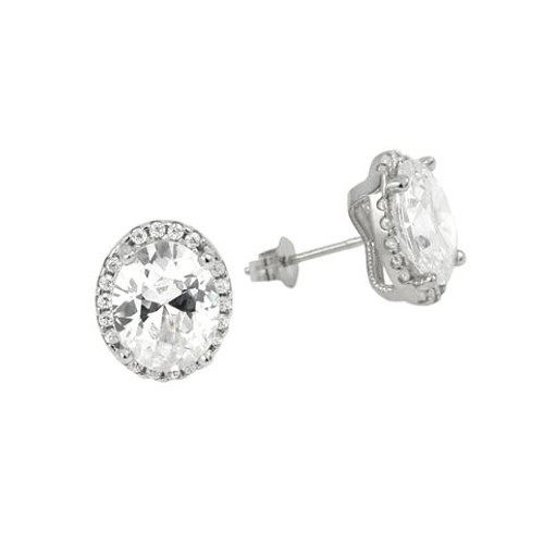 RHODIUM PLATED 8X10 OVAL CZ EARRINGS WITH ALL AROUND SMALL CZ STONES