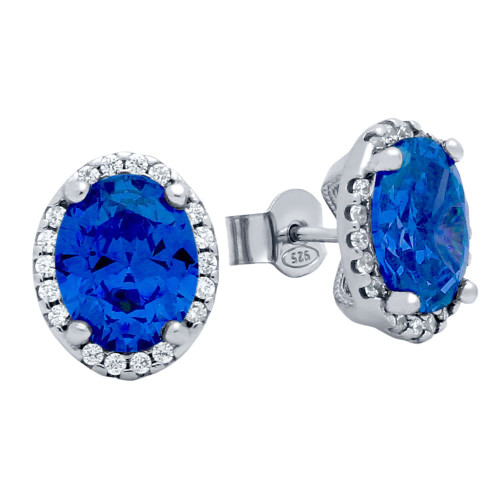 RHODIUM PLATED 8X10 BLUE OVAL CZ EARRINGS WITH ALL AROUND CLEAR CZ STONES