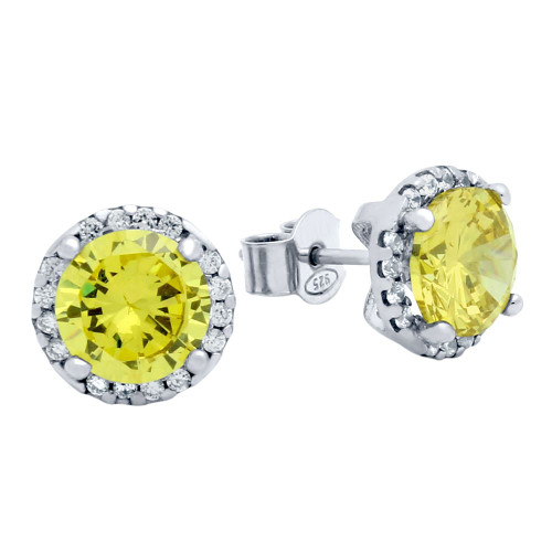 RHODIUM PLATED 7.5MM LIGHT YELLOW ROUND CZ STUD EARRINGS WITH ALL AROUND CLEAR CZ STONES