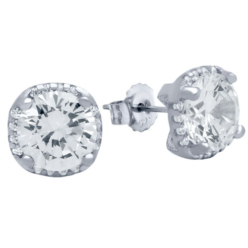RHODIUM PLATED SQUARE SHAPE 9MM ROUND CZ EARRINGS WITH ALL AROUND SMALL CZ STONES