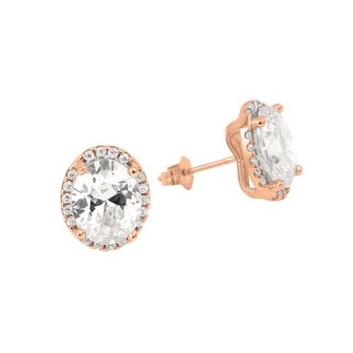 ROSE GOLD PLATED OVAL CZ EARRINGS WITH ALL AROUND SMALL CZ STONES