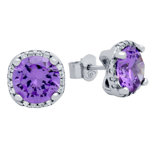 RHODIUM PLATED PURPLE SQUARE SHAPE 9MM ROUND CZ EARRINGS WITH ALL AROUND CLEAR CZ STONES