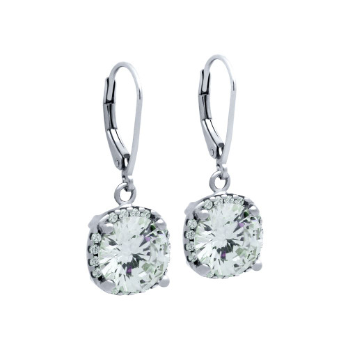 RHODIUM PLATED SQUARE SHAPE ROUND CZ LEVERBACK EARRINGS